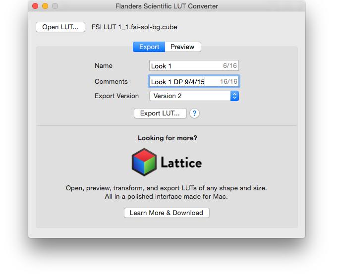 FSI   LUT Conversion (Mac)